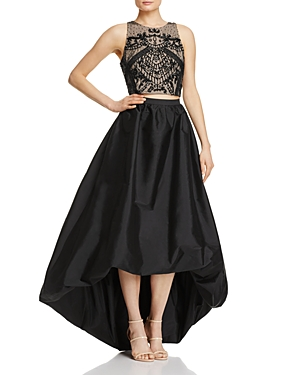 Adrianna Papell Beaded-Bodice Two-Piece Gown