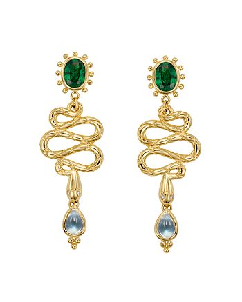 Temple St. Clair - 18K Yellow Gold Serpent Drop Earrings with Royal Blue Moonstone, Tsavorite and Diamonds