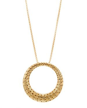 John Hardy 18K Yellow Gold Classic Chain Round Pendant Necklace, 36