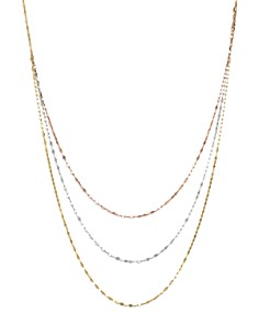 "Bloomingdale's - 14K Yellow, White, and Rose Gold Three Strand Flat Link Chain Necklace, 28"" - 100% Exclusive"