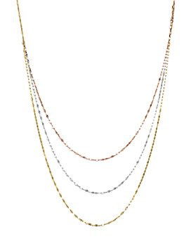 """Bloomingdale's - 14K Yellow, White, and Rose Gold Three Strand Flat Link Chain Necklace, 28"""" - 100% Exclusive"""