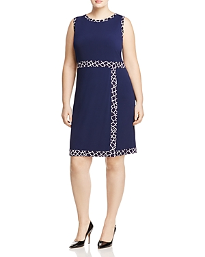 Michael Michael Kors Plus Border Print Faux Wrap Dress