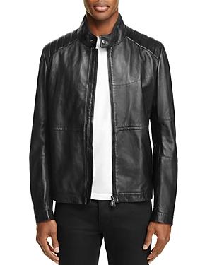 Boss Green Leather Moto Jacket