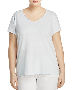 Eileen Fisher Plus Organic Cotton V-Neck Tee