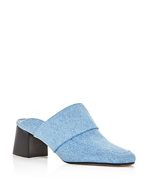 Aska Gwynne Denim Block Heel Mules