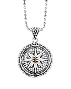"LAGOS 18K Gold and Sterling Silver Signature Caviar Compass Pendant Ball Chain Necklace, 34"" - Bloomingdale's_0"