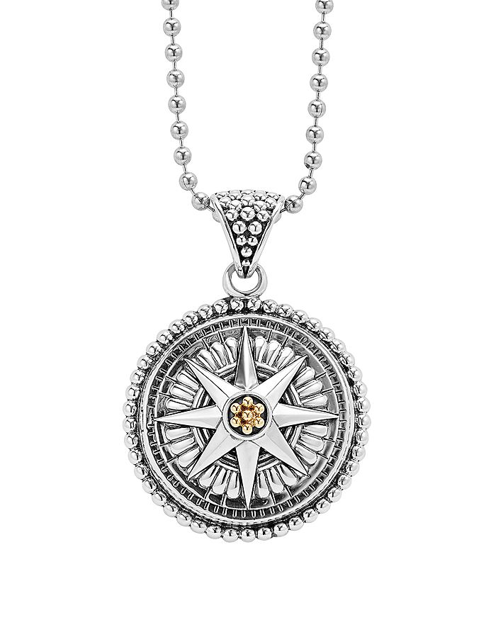 """LAGOS - 18K Gold and Sterling Silver Signature Caviar Compass Pendant Ball Chain Necklace, 34"""""""