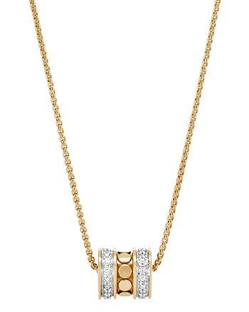"JOHN HARDY - 18K Yellow Gold Dot Diamond Roller Pendant Necklace, 16"""