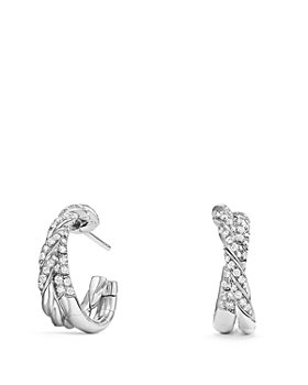 David Yurman - Pavé Flex Petite Hoop Earrings with Diamonds in 18K White Gold