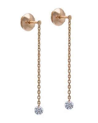 LA BRUNE ET LA BLONDE 18K ROSE GOLD 360 DIAMOND DROP EARRINGS