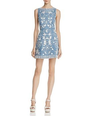 $Alice + Olivia Lindsey Embroidered Denim Dress - Bloomingdale's