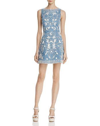 Alice and Olivia - Lindsey Embroidered Denim Dress