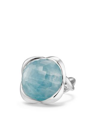David Yurman CONTINUANCE RING WITH MILKY AQUAMARINE