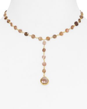 Ela Rae Yael Moonstone Y Beaded Necklace, 14