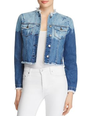 Nobody Fray Crop Denim Jacket in Abstract