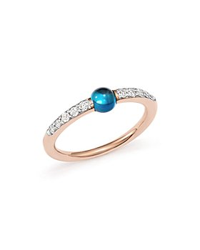 Pomellato - M'Ama Non M'Ama Ring with London Blue Topaz and Diamonds in 18K Rose Gold