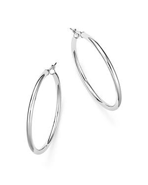 14K White Gold Tube Hoop Earrings - 100% Exclusive