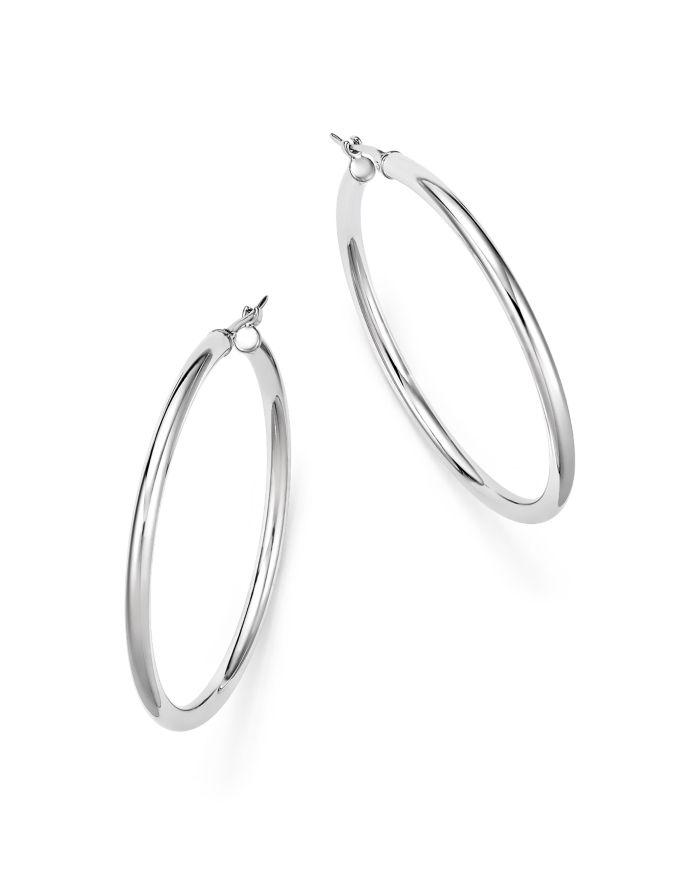 Bloomingdale's 14K White Gold Tube Hoop Earrings - 100% Exclusive  | Bloomingdale's