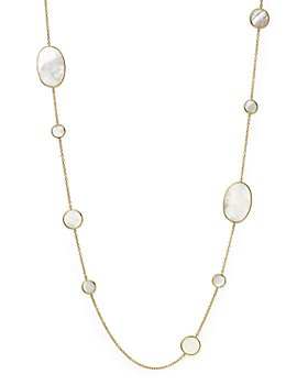 """IPPOLITA - Ippolita 18K Yellow Gold Polished Rock Candy Circle Oval Station Necklace in Mother-Of-Pearl, 37"""""""
