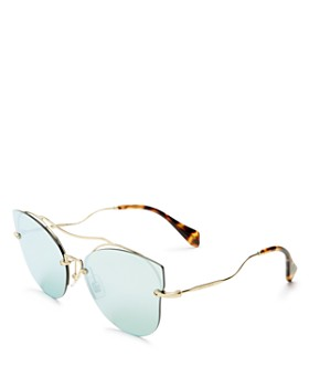 Miu Miu - Women's Mirrored Brow Bar Cat Eye Sunglasses, 66mm