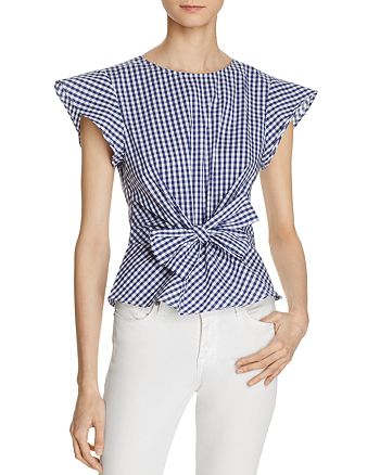 Lucy Paris - Belted Ruffle Sleeve Top - 100% Exclusive