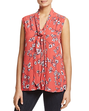 cupcakes and cashmere Jared Floral Print Tie-Neck Top