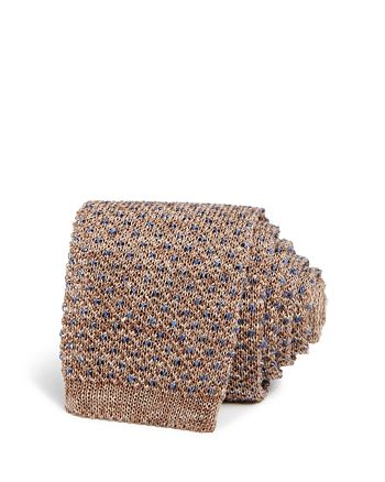 Ledbury - Linen Chevron Dot Neat Knit Skinny Tie