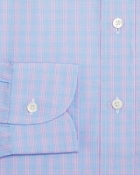 Ledbury - Gingham Over Check Slim Fit Dress Shirt
