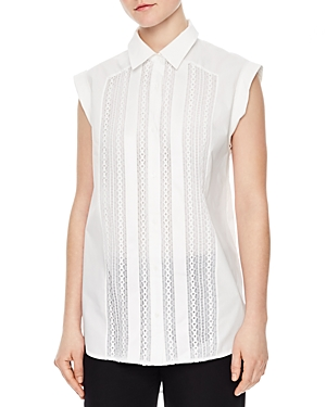 Sandro Clea Lace-Front Sleeveless Shirt