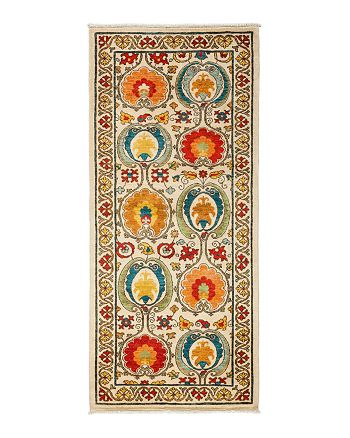 """Solo Rugs - Suzani Collection Oriental Rug, 3'3"""" x 7'5"""""""