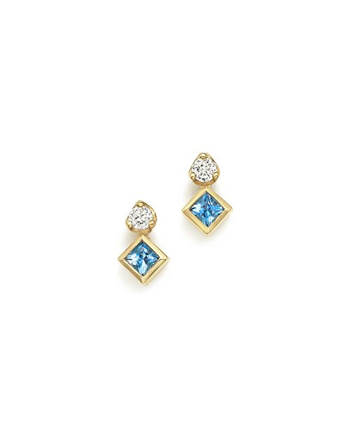 Zoë Chicco - 14K Yellow Gold Icon Stud Earrings with Diamond and Aquamarine  - 100% Exclusive