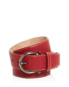 Salvatore Ferragamo Pebbled Calfskin Belt with Gancio Buckle - Bloomingdale's_0