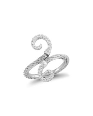Alor Diamond Grey Cable Ring