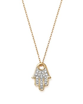 Adina Reyter - 14K Yellow Gold Pavé Diamond Hamsa Pendant Necklace, 15""