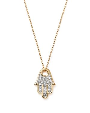 Adina Reyter 14K Yellow Gold Pave Diamond Hamsa Pendant Necklace, 15