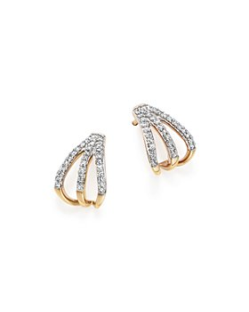 Adina Reyter - 14K Yellow Gold Pavé Diamond Triple Huggie Hoop Earrings