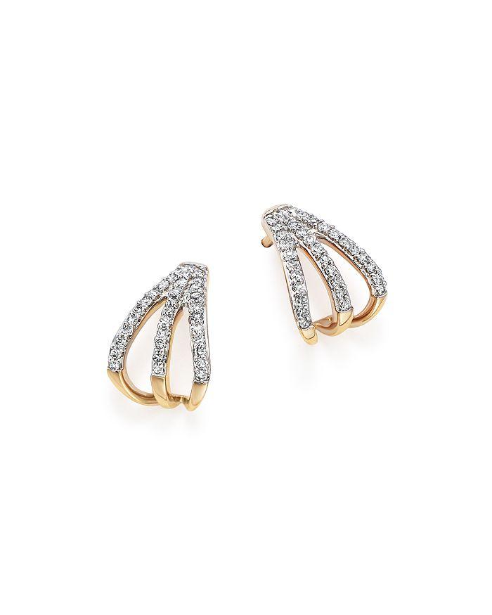 Adina Reyter - 14K Yellow Gold Pavé Diamond Triple Huggie Hoop Earrings