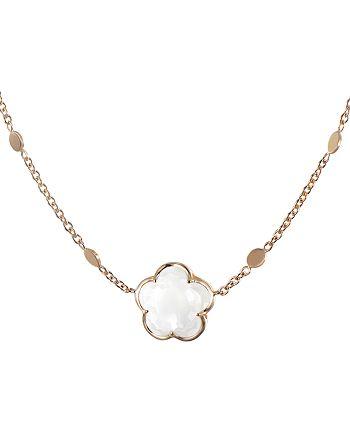 """Pasquale Bruni - 18K Rose Gold Floral Milky Quartz Pendant Necklace, 16"""""""