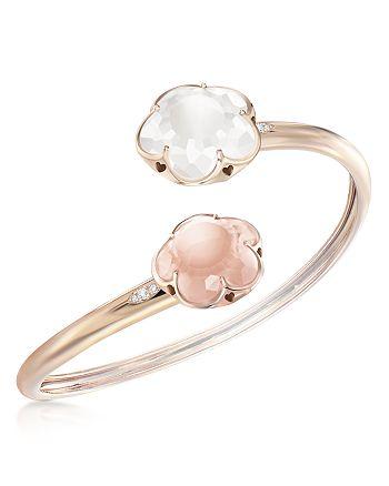 Pasquale Bruni - 18K Rose Gold Rose Quartz, Milky Quartz and Diamond Floral Bangle