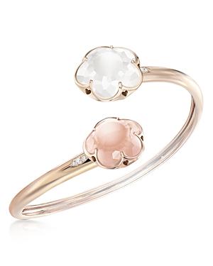 Pasquale Bruni 18K Rose Gold Rose Quartz, Milky Quartz and Diamond Floral Bangle