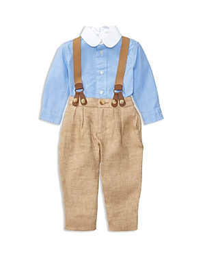 Ralph Lauren Childrenswear Boys' Shirt, Pants & Suspenders Set - Baby