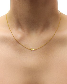 """Dogeared - Gold Whisper Cross Necklace, 16"""""""
