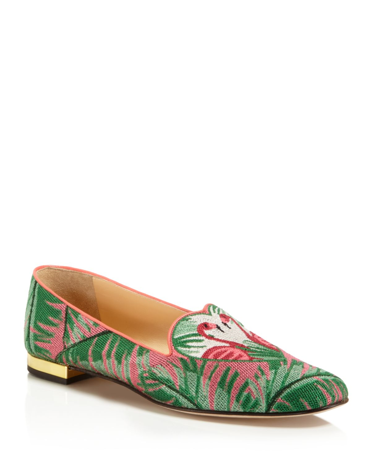 Charlotte Olympia Needlepoint flamingo slippers