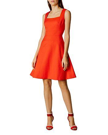 KAREN MILLEN - Textured Fit-and-Flare Dress