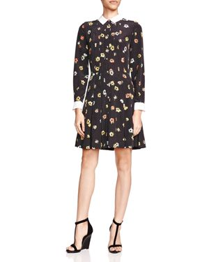The Kooples Silk Camellia Print Shirt Dress
