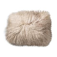 "Bloomingville - Sand White Tibetan Lamb Fur Pillow, 16"""