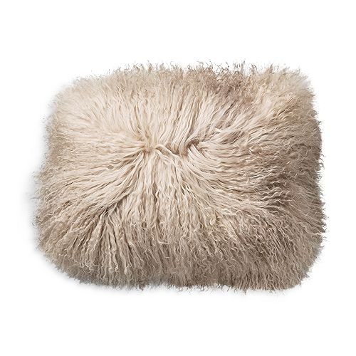 Bloomingville - Sand White Tibetan Lamb Fur Pillow, 16""
