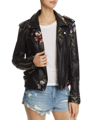 Womens Ladies Girls Floral Embroidered Studded Detail Faux Leather Biker Jacket