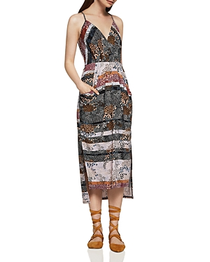 BCBGeneration Abstract Dot Faux Wrap Midi Dress