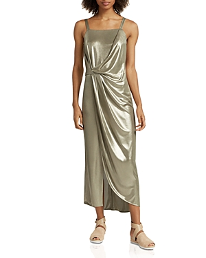 Halston Heritage Metallic Jersey Dress